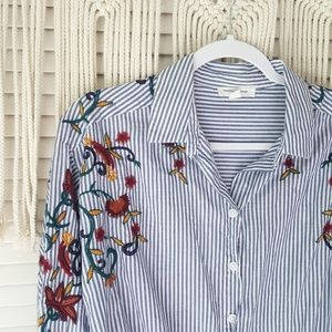 beachlunchlounge Tops - BEACHLUNCHLOUNGE Striped Floral Embroidered Top M